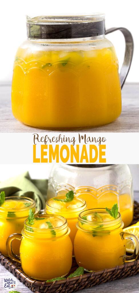 Refreshing Easy Mango Lemonade - prepared using fresh zesty lemon juice, honey, & mango pulp.Healthy, simple & naturally sweetened fresh lemonade recipe to enjoy summer. | #watchwhatueat #mango #lemonade #nonalcoholic #healthy drink