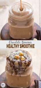 Chocolate banana smoothie recipe - delicious & naturally sweetened for healthy morning breakfasts. | #watchwhatueat #chocolate #smoothie #healthybreakfast