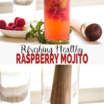 Quick & easy non alcoholic Raspberry Mojito Recipe - make this delicious mocktail using fresh raspberries, lime, mint, and sparkling apple cider. It will make you crave for more. #watchwhatueat #raspberry #mojito #nonalcoholic #mocktail