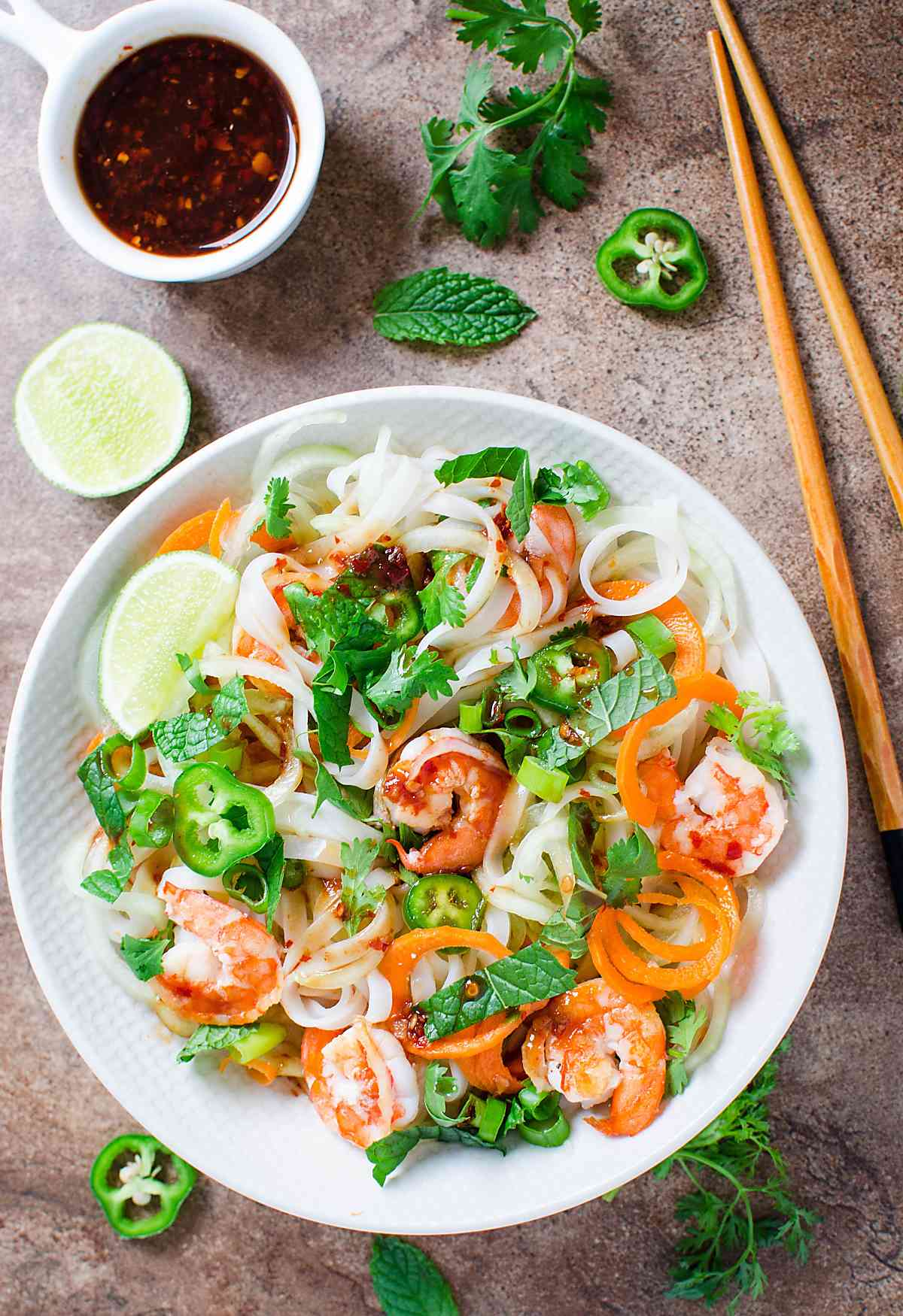 This Vietnamese Summer Roll Salad Bowl is a perfect alternative to wrapping Vietnamese summer rolls in rice paper wraps.