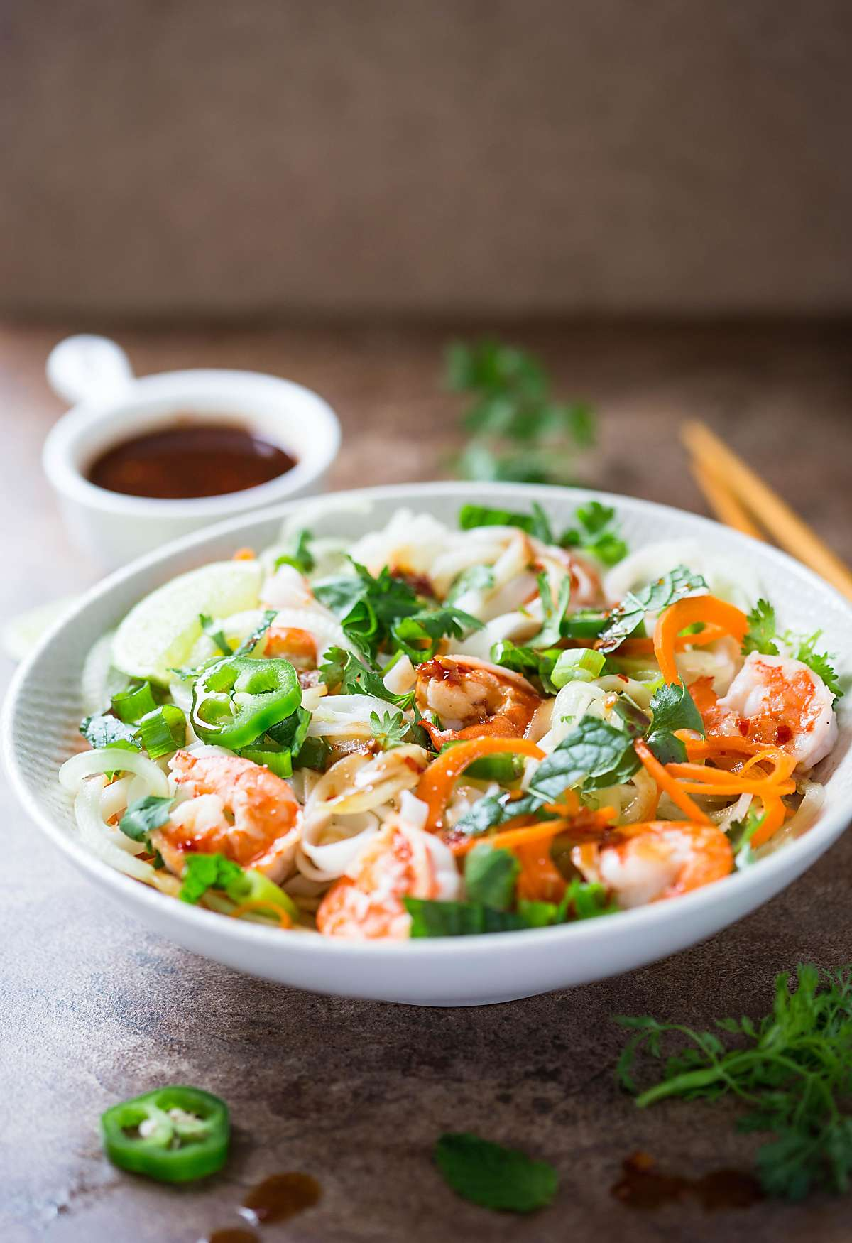 Vietnamese summer rolls salad with chili garlic and soy sauce dressing