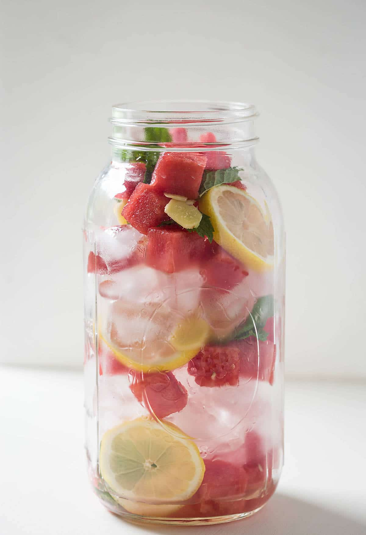 Stay hydrated with this refreshing fresh watermelon detox water. Contains all the goodness from fresh watermelon, mint, ginger, and lemon.