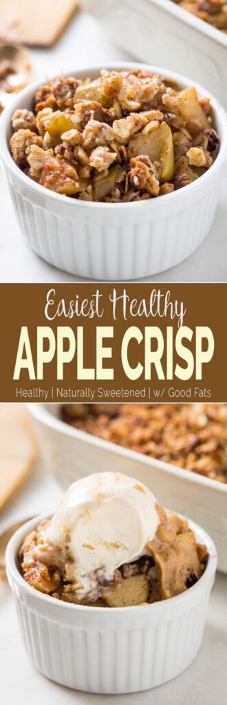 This easy and healthy apple crisp recipe is perfect for enjoying dessert guilt-free. No one will notice that it is skinny with no butter and white sugar. #healthyrecipes, #apple