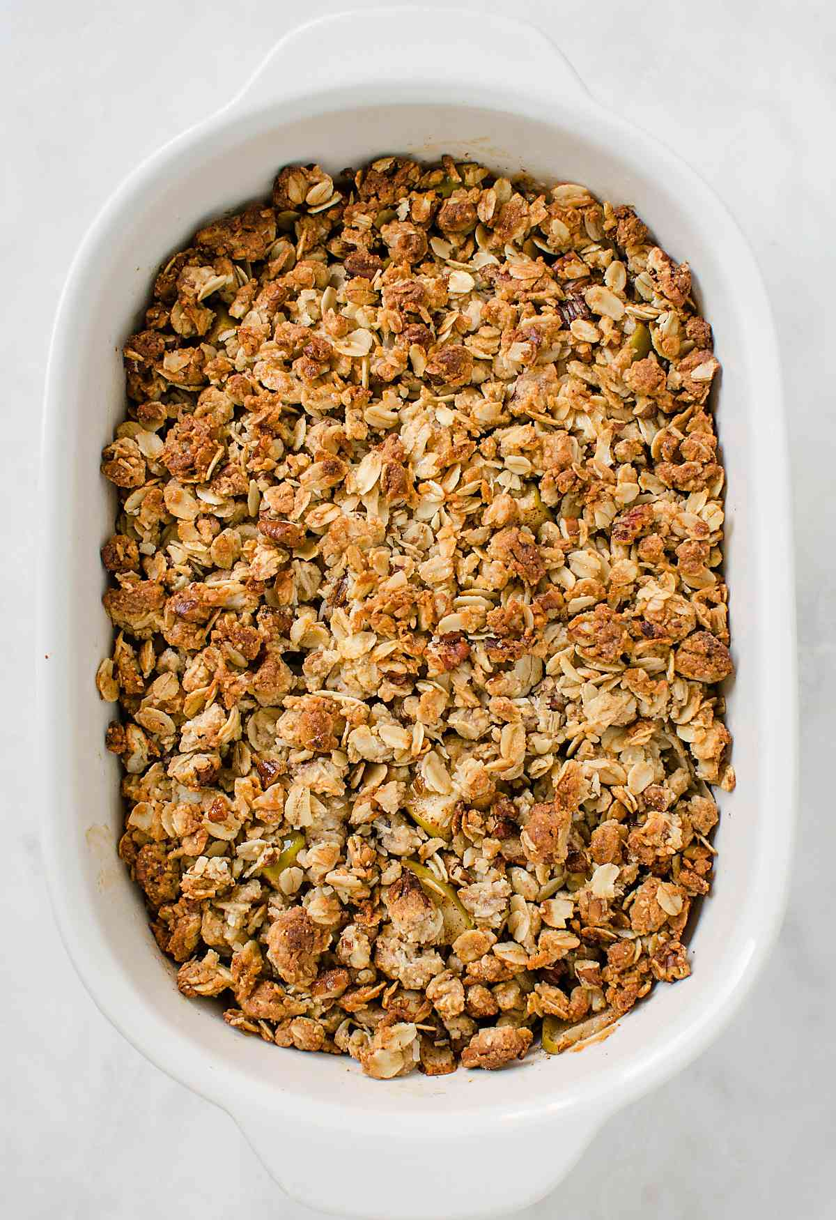 This easy and healthy apple crisp recipe is perfect for enjoying dessert guilt-free. No one will notice that it is skinny with no butter and white sugar.