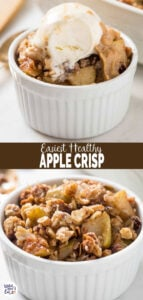This easy and healthy apple crisp recipe is perfect for enjoying dessert guilt-free. No one will notice that it is skinny with no butter and white sugar. | #watchwhatueat #apple #applecrisp #fallrecipes #healthydessert