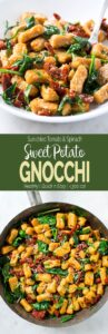 This easiest one pan sweet potato gnocchi with spinach and sundried tomato is perfect for weeknight dinner. #pasta #healthyrecipes #gnocchi