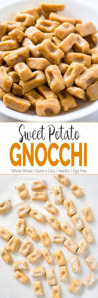 Homemade sweet potato gnocchi made using whole grain flour blend and fresh sweet potato puree. You will never want to buy gnocchi from the stores once you try this.