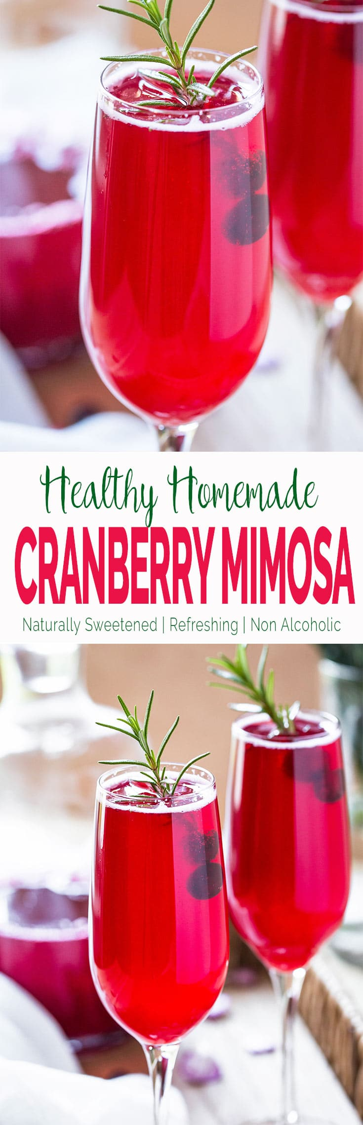 This cranberry mimosa recipe calls for freshly made homemade cranberry juice. It is healthy, naturally sweetened, kids friendly that the entire family can enjoy. | #nonalcoholic #cranberry#mimosa #thanksgivingdrinks