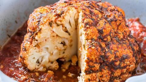 Oven Roasted Whole Cauliflower With Garlic And Herb