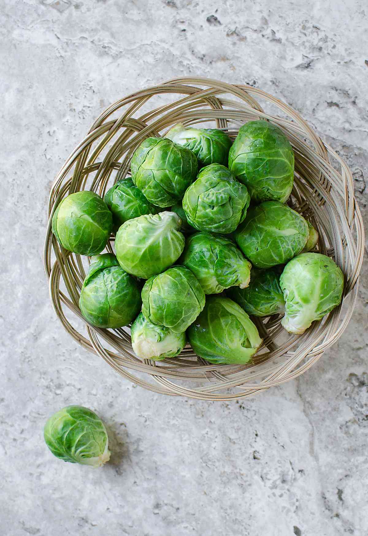 Fresh brussels sprouts for preparing sautéed brussels sprouts