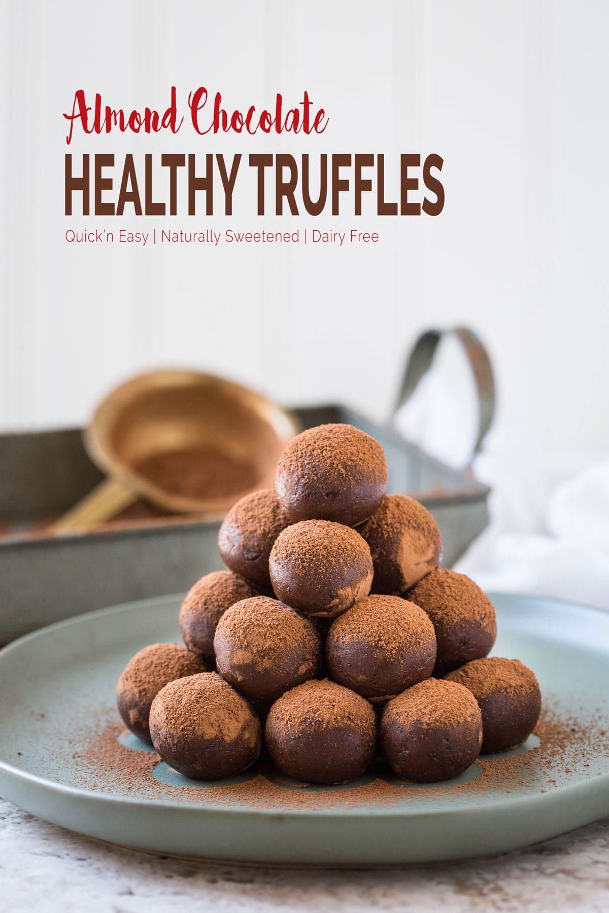 These almond chocolate truffles are amazingly delicious and tempting. The best part is, these are healthy with no added white sugar or dairy butter or cream.   #truffles #chocolatetruffles #vegantruffles #almondtruffles