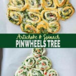 These super easy, nutritious & delicious artichoke spinach pinwheels are perfect appetizers for the holiday season. You can arrange them in the shape of the Christmas tree for Christmas appetizers. Quick preparation with tons of flavors. #watchwhatueat #spinachartichoke #christmasappetizer #holidayappetizers