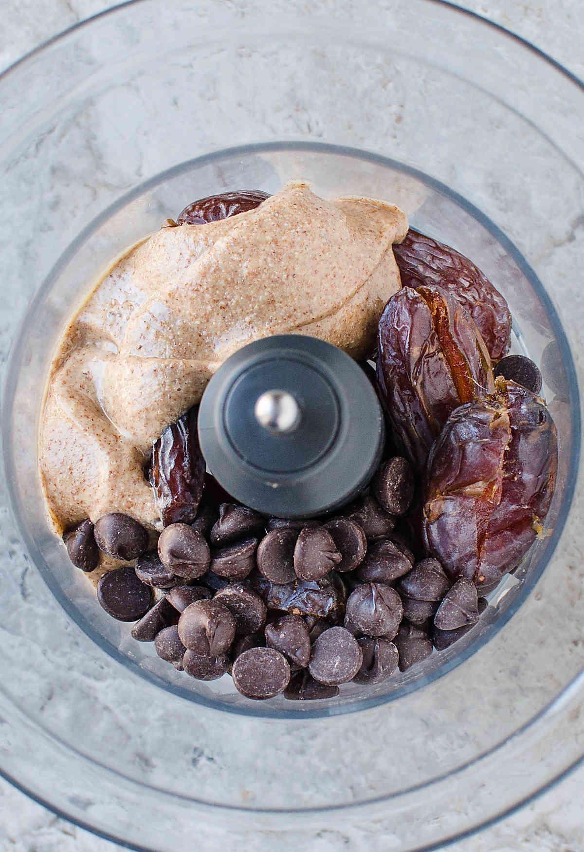 Preparing ingredients for dates almond chocolate truffles.