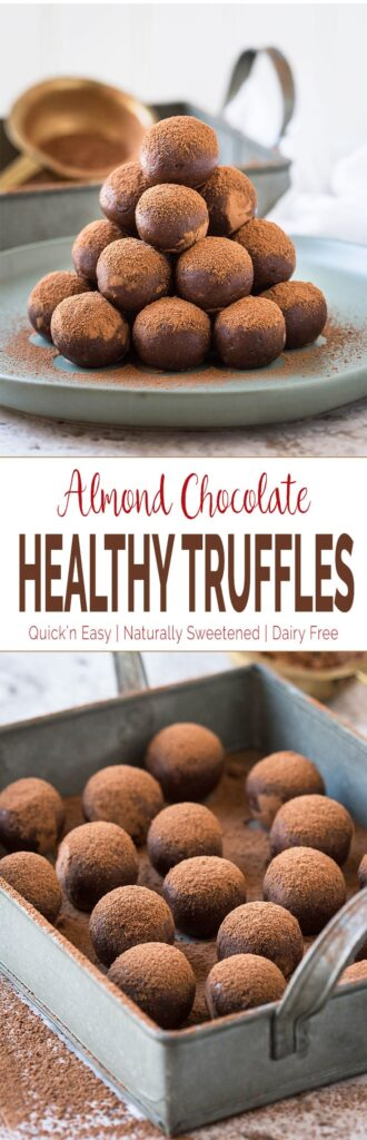These almond chocolate truffles are amazingly delicious and tempting. The best part is, these are healthy with no added white sugar or dairy butter or cream. | #truffles #chocolatetruffles #vegantruffles #almondtruffles