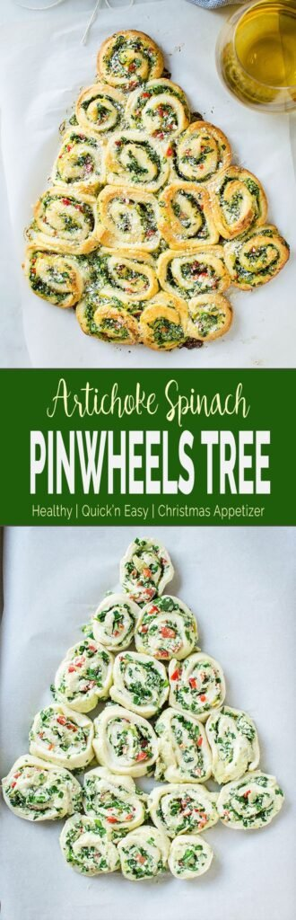 These super easy, nutritious & delicious artichoke spinach pinwheels are perfect appetizers for the holiday season. Quick preparation with tons of flavors. #spinachartichoke #christmasappetizer #holidayappetizers