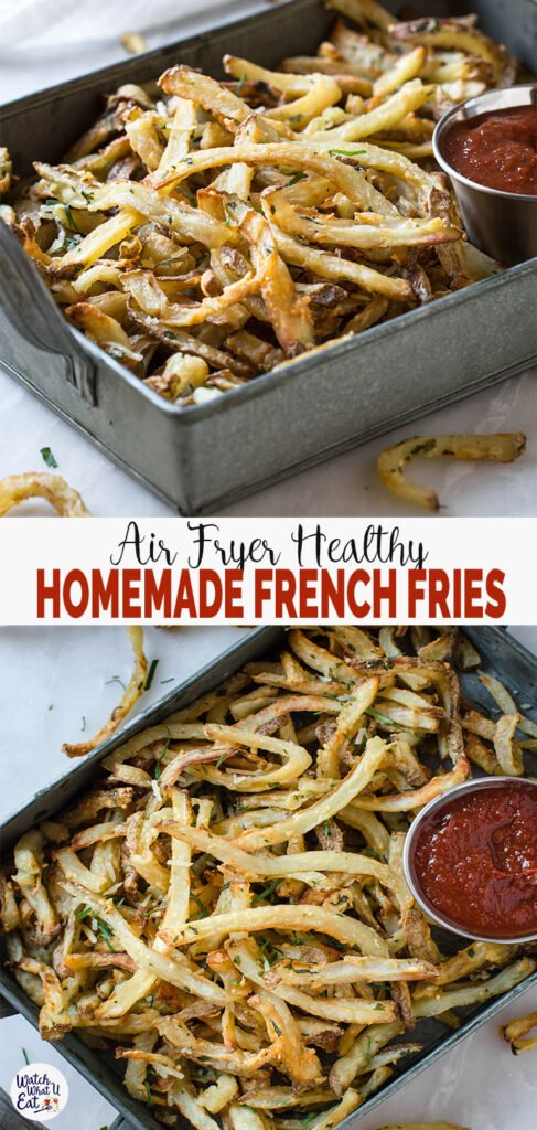 Low Fat Air Fryer French Fries - Healthy and easy homemade French Fries without the need to deep fry in oil. You can make them anytime you crave for potato fries.   #watchwhatueat #airfryer #frenchfries #lowfat #healthyfries