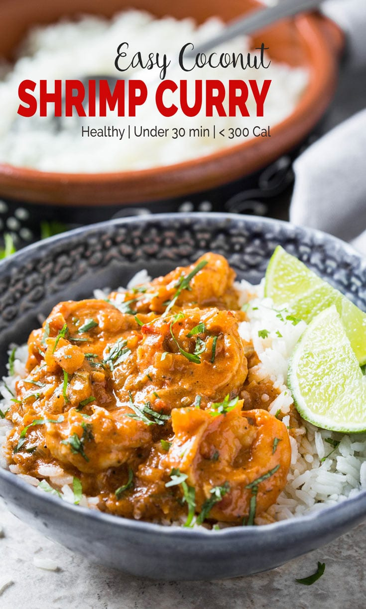 Quick and easy Coconut Shrimp Curry - Delicious shrimp cooked in coconut milk and tomato gravy. Perfect healthy recipe for lunch or busy weeknight dinner. | #shrimp #coconutcurry #curry #onepan