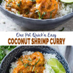 images of coconut shrimp curry served with rice and lime wedges in a serving bowl
