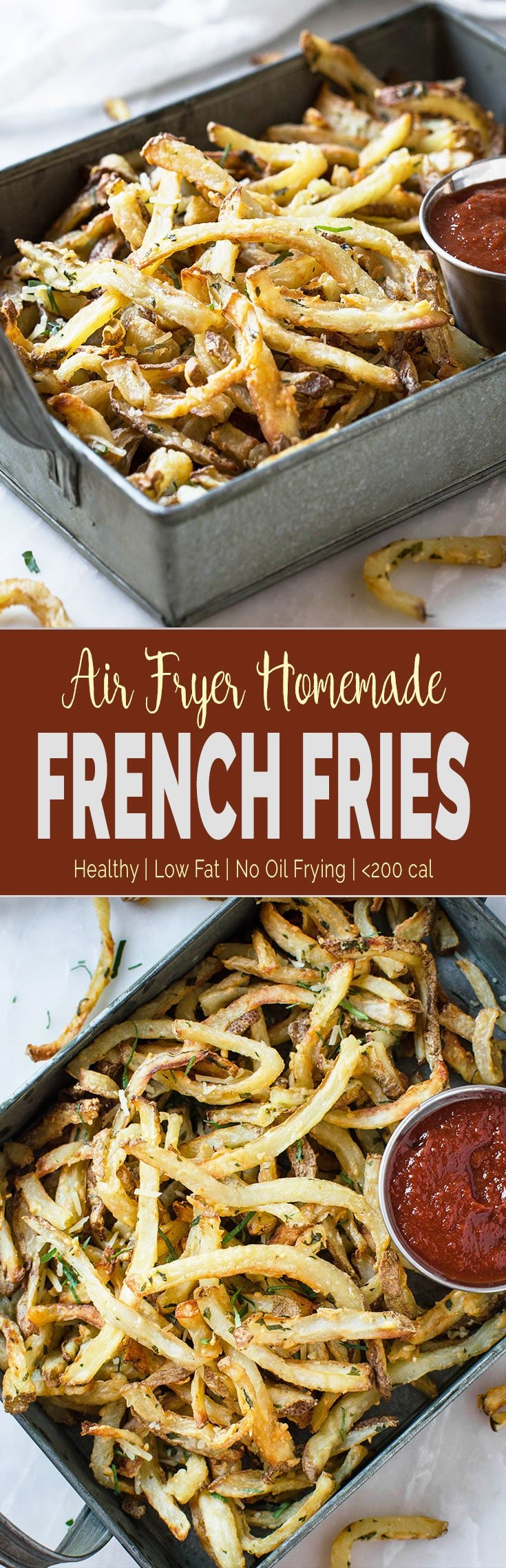 Low Fat Air Fryer French Fries - Healthy homemade French Fries without the need to deep fry in oil. You can make them anytime you crave for french fries. | #airfryer #frenchfries #lowfat #healthyfries