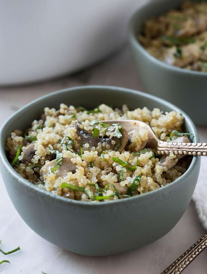 One Pot Garlic Mushroom Quinoa - An easy, healthy quinoa dish you will love to make again and again. | #quinoa #glutenfree #onepot #healthyside