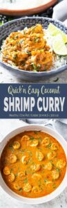 Quick and easy Coconut Shrimp Curry - Delicious shrimp cooked in coconut milk and tomato gravy. Perfect healthy recipe for lunch or busy weeknight dinner.   #shrimp #coconutcurry #curry #onepan