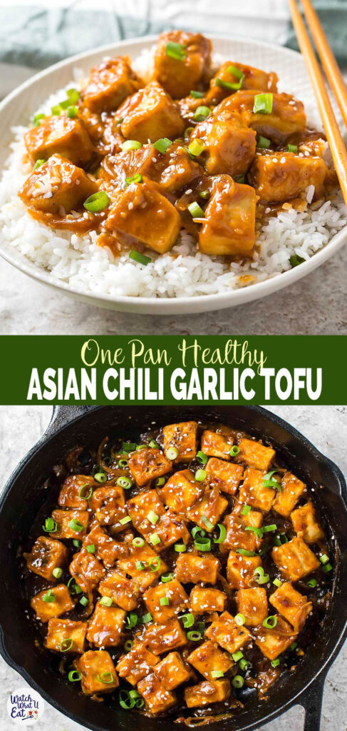 Try this one pan stir fry Asian Tofu in chili garlic sauce. Under 30 min quick, easy and healthy recipe for meatless/vegan lunch or dinner. #watchwhatueat #tofu #vegan #onepan