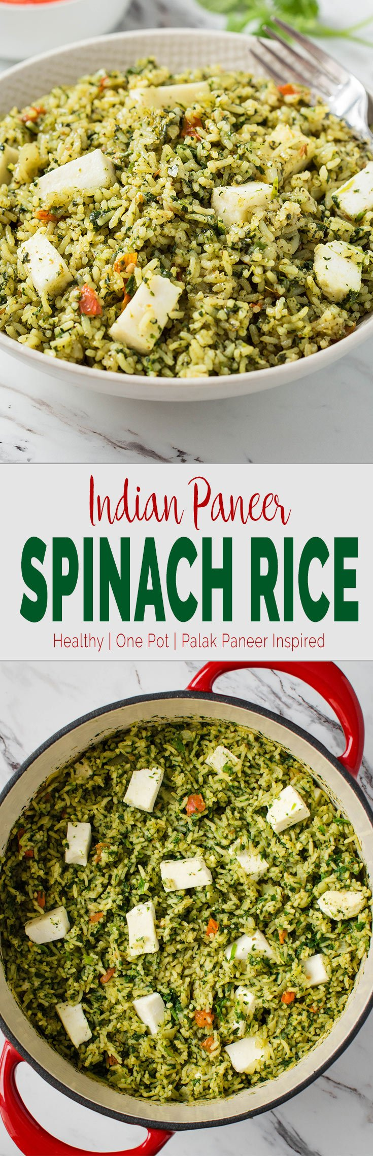 Turn authentic Indian palak paneer curry into a complete meal with this delicious one pot Easy Palak Paneer Rice recipe. #spinach #palakpaneer #healthyrecipes