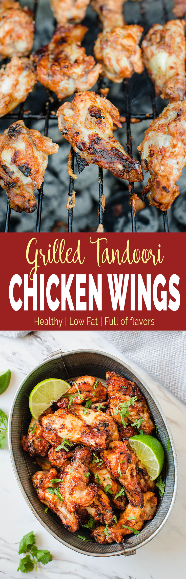 Make these amazingly flavorful grilled Tandoori Chicken Wings when you fire up your grill next time. The smoky taste that develops during grilling make them even more delicious.