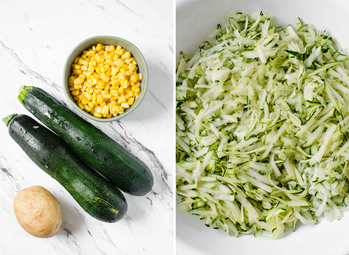 Ingredients for making Zucchini Corn Fritters