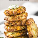 Make these Zucchini Corn Fritters from fresh zucchini and corn with this simple recipe. You will need only 5-6 ingredients. Easy and healthy air fryer recipe for making appetizers or snacks. Do not have Air Fryer? Then, shallow fry them in a nonstick fry pan. #zuchhini #fritters #vegan #glutenfree #airfryer