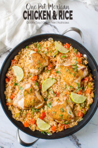 This healthy Mexican chicken and rice is loaded with fresh vegetables and tons of flavors. Simple and easy one-pot recipe for busy weeknight dinner. #onepot #Mexican #chicken #rice #healthyrecipes #watchwhatueat
