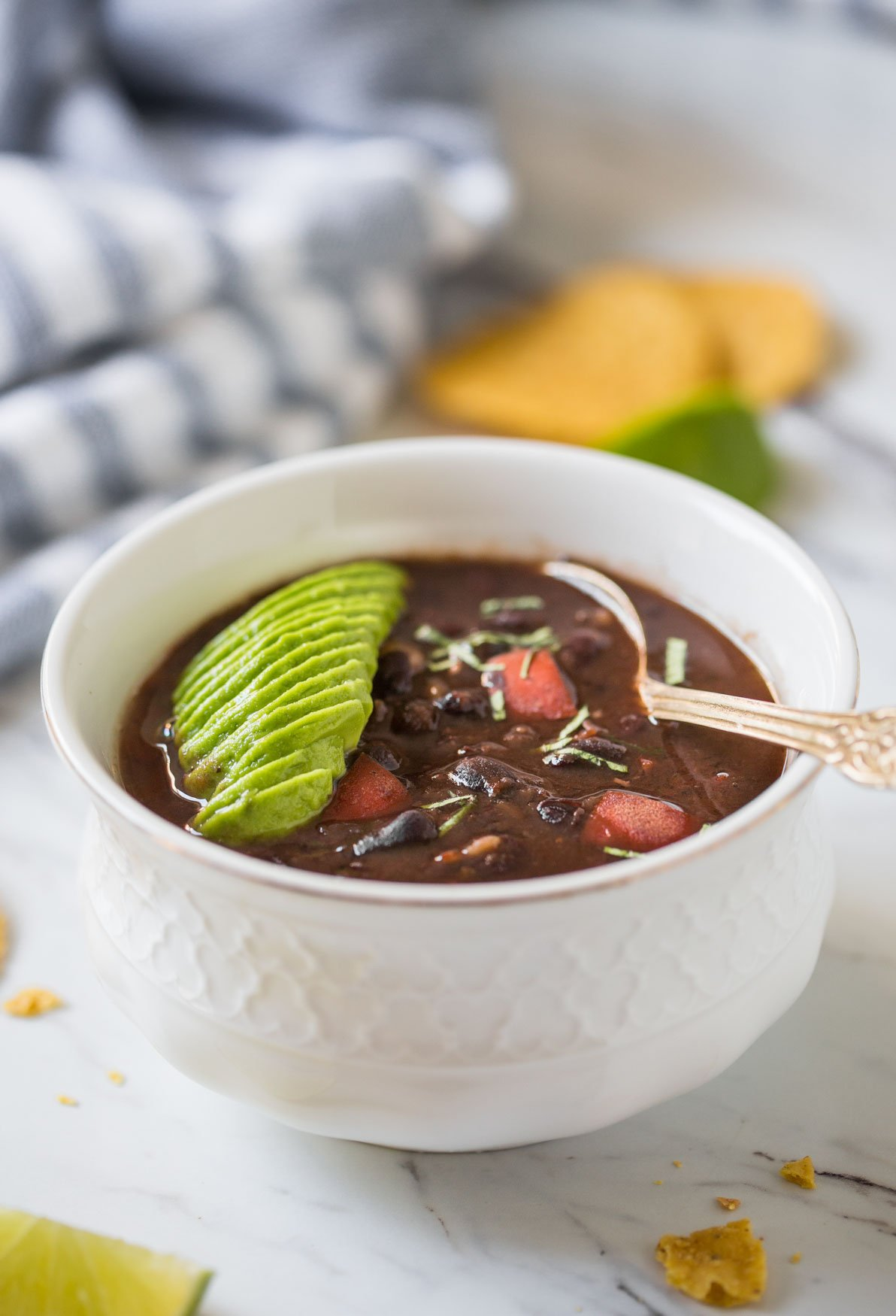 Instant pot black bean soup with dried beans - Follow this easy and healthy recipe for quick one pot dinner or lunch. #instantpot #pressurecooker #blackbeans #soup #vegan #glutenfree