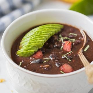 Follow this easy and healthy recipe for making quick Instant pot black bean soup with dried beans. No soaking required. Full of flavors, vegan and gluten-free soup for lunch or dinner. #instantpot #pressurecooker #blackbeans #soup #vegan #glutenfree