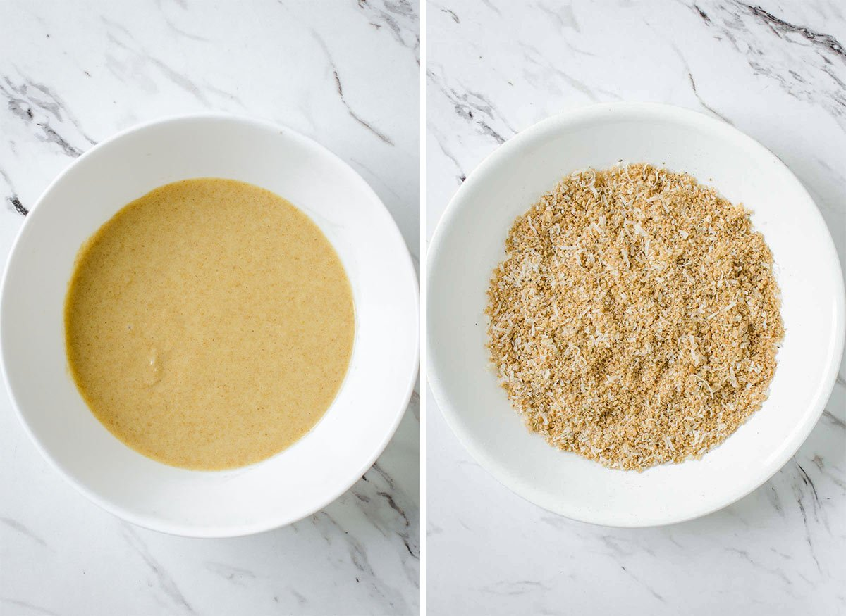 Batter and bread crumbs mixture for making Air Fryer breaded eggplants