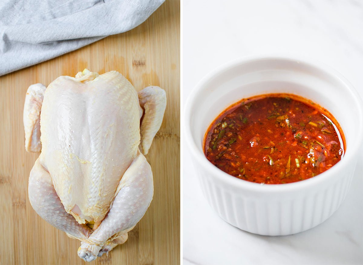 Whole chicken and garlic herb mixture for cooking chicken in Instant Pot.