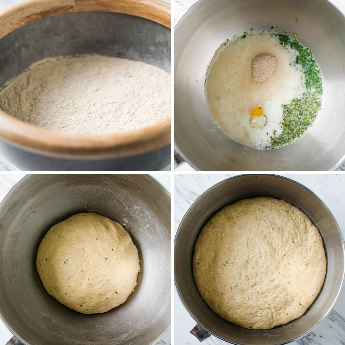 Preparing whole wheat dough for making healthy dinner rolls.