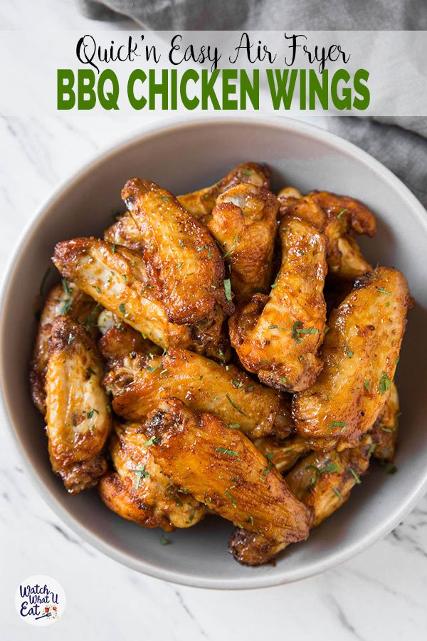 These healthy Air Fryer BBQ Chicken Wings are juicy & tender with amazing smokey flavors from the bbq sauce. Under 30 min, a quick & easy party appetizer or snack recipe. | #watchwhatueat #airfryer #airfryerchickenwings #chickenwings #bbqchickenwings