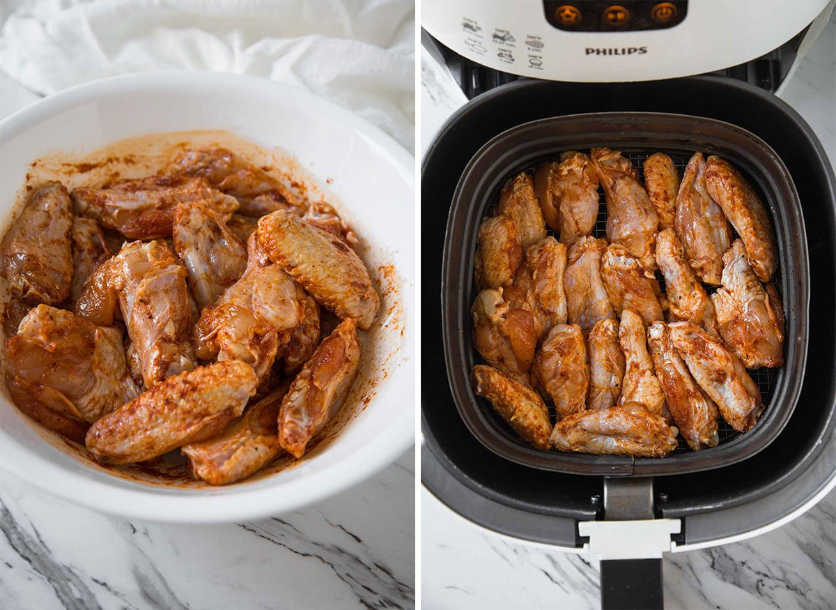 Cooking chicken wings in the Air Fryer.