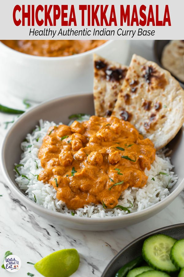 Enjoy authentic Indian flavors in this Healthy Chickpea Tikka Masala. Simple and easy vegetarian tikka masala recipe for a weeknight meal or to serve in a party. | #watchwhatueat #tikkamasala #chickpea #chickpeacurry #Indiancooking