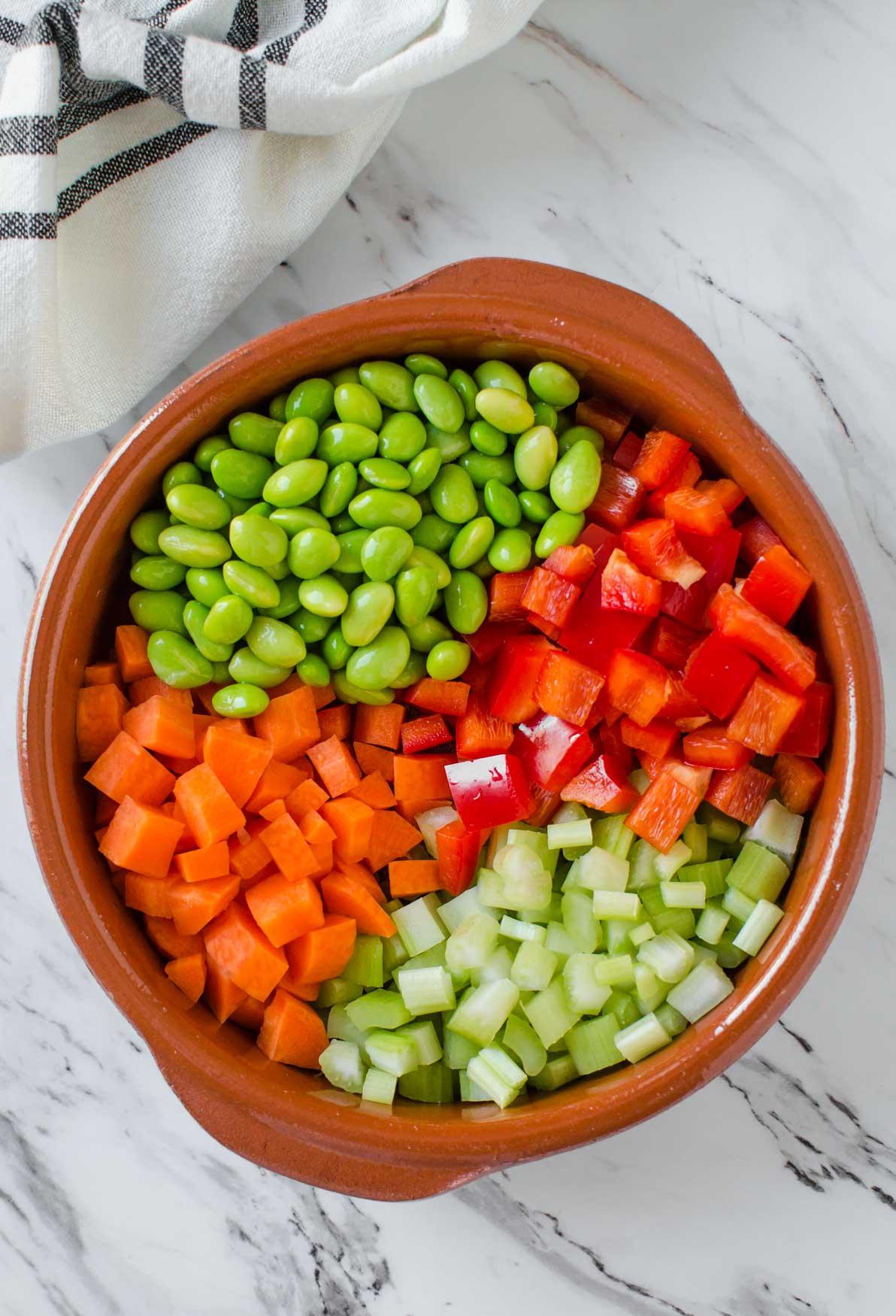 Fresh vegetables and beans for making Instant Pot Vegetable Barley Soup. #barleysoup