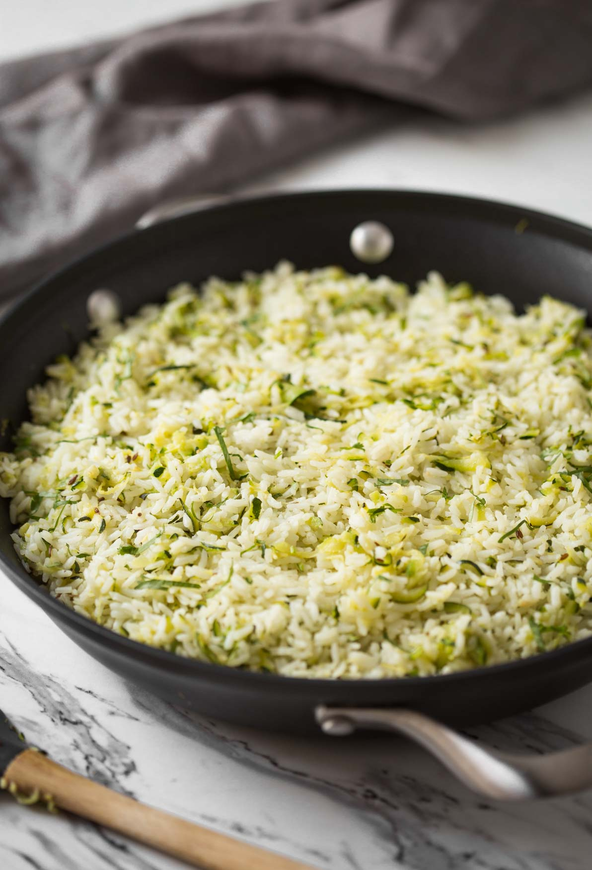 This garlic flavored zucchini with rice is a perfect side dish is ready in under 30 minutes.