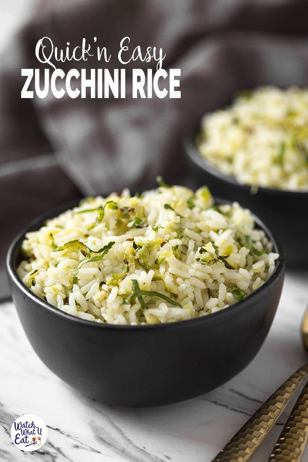 Loaded with fresh zucchini and garlic flavors this healthy zucchini rice is ready in 30 mins. Perfect quick and easy vegetarian (and vegan) recipe to include in a weeknight dinner or lunch menu. | #watchwhatueat #zucchini #zucchinirecipes #ricepilaf #zucchinirice