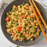 Learn how to make healthy fried brown rice with fresh vegetables. A simple, delicious and wholesome vegetable fried rice recipe that is better than takeout