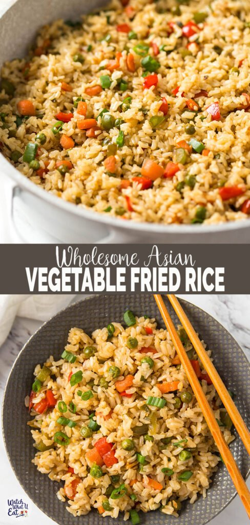 Learn how to make healthy fried brown rice with fresh vegetables. A simple, delicious and wholesome vegetable fried rice recipe that is better than takeout | #watchwhatueat #friedrice #brownrice #healthychinesefood #chineserecipes