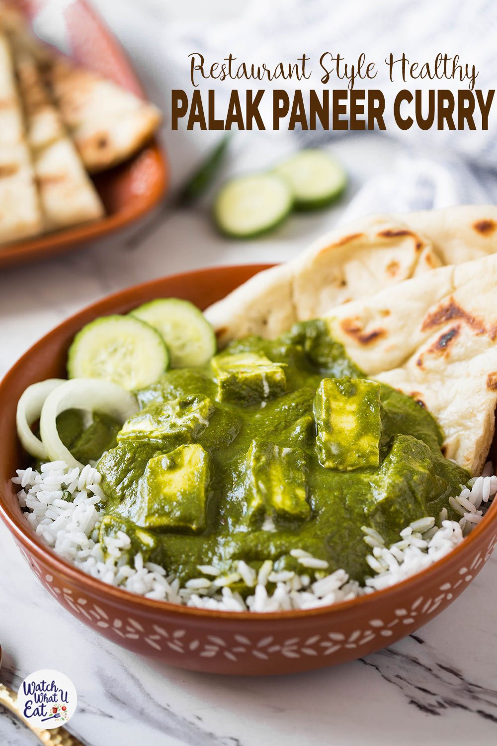 This restaurant-style creamy yet healthy palak paneer curry is super easy to prepare at home. Loaded with all authentic Indian flavors and it goes well with naan bread or plain basmati rice. | #watchwhatueat #palakpaneer #spinachrecipe #spinach #vegetarian