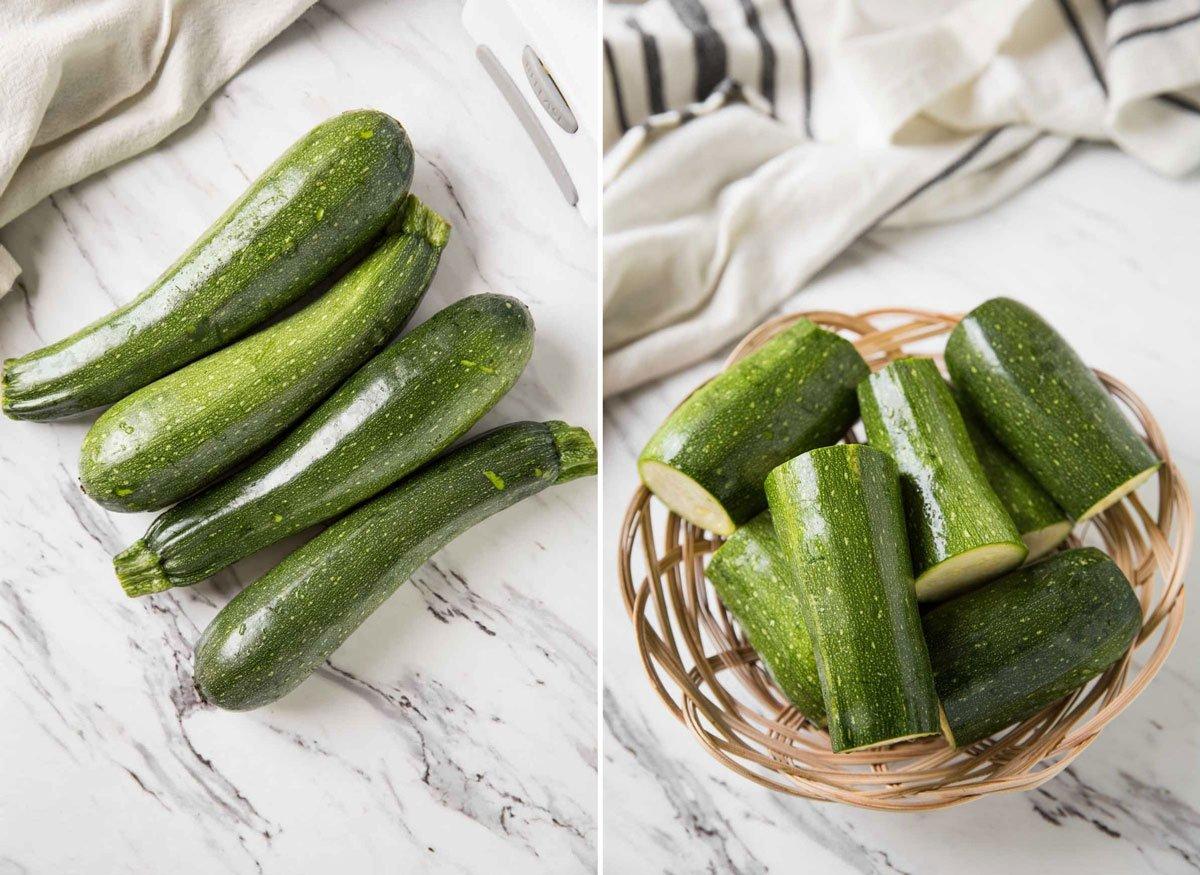 Fresh zucchini cut in half to prepare zucchini noodles