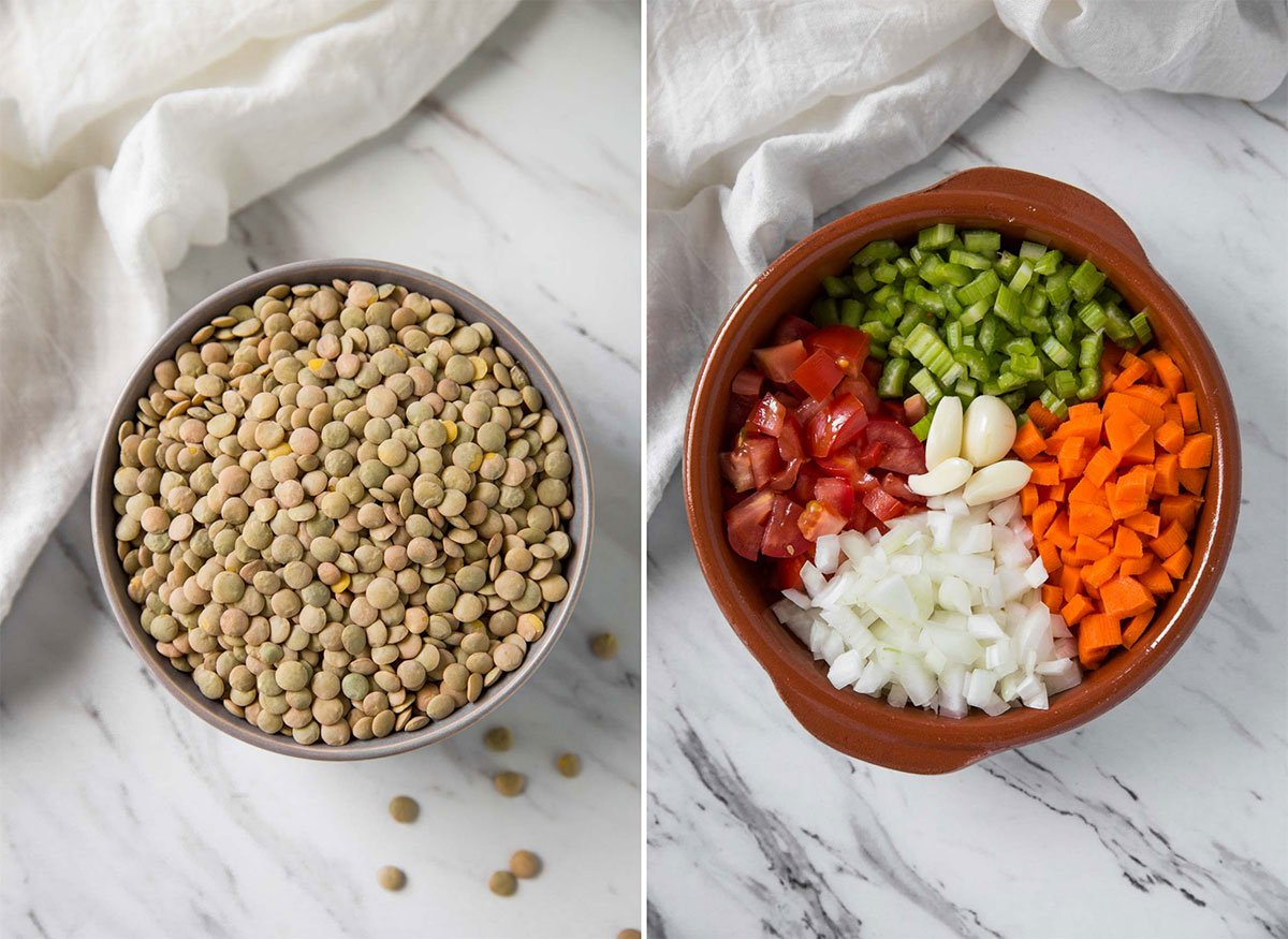 Essential ingredients for lentil soup - whole lentils, diced carrot, celery, onion, and tomato