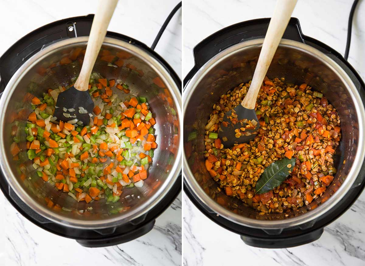 Cooking carrot, celery, and onion in Instant Pot for making healthy lentil soup.