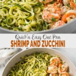 Make this one-pan shrimp and zucchini noodles (aka zoodles) flavored with lemon and garlic for a healthy, quick and easy weeknight dinner or lunch. You only need 15-20 min to prepare this low carb zucchini pasta. | #watchwhatueat #zucchini #zucchininoodles #shrimp #shrimppasta