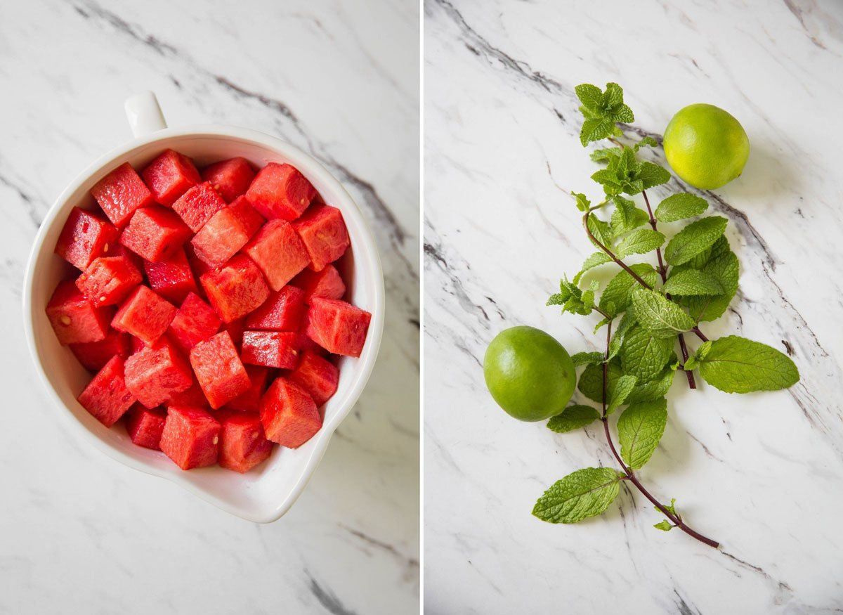 Fresh watermelon cubes, fresh mint leaves and limes for making watermelon slush